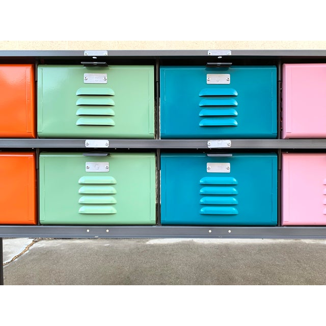 Custom Made 5 X 2 Locker Basket Unit With Multicolored Drawers and Shelf For Sale In Los Angeles - Image 6 of 9