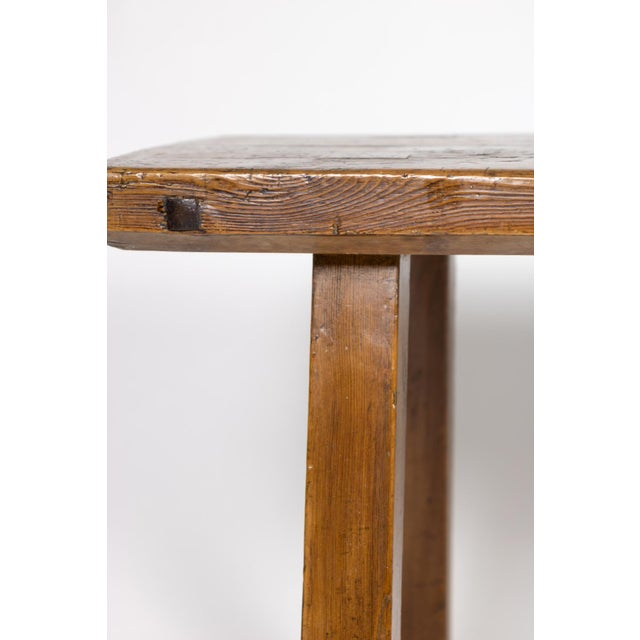 Elm Rustic Elm Work Bench With Square Iron Pegs, English Circa 1880. For Sale - Image 7 of 13