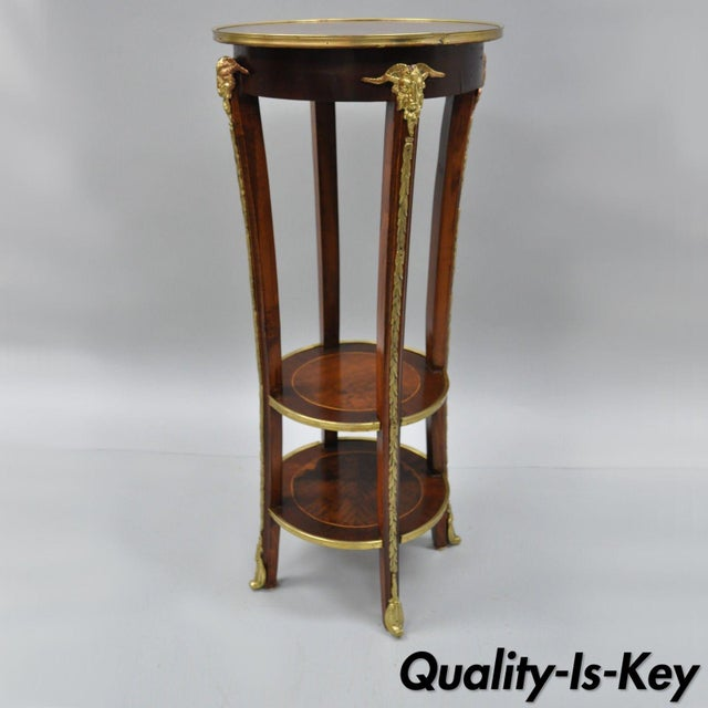 French Regency Neoclassical Style Bronze Rams Head Round Inlaid Pedestal Table For Sale - Image 12 of 12