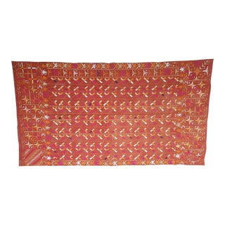 Large Antique Swat Valley Pakistani Embroidered Phulkari Silk Linen Throw For Sale