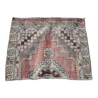 1970s Turkish Handmade Muted Floral Design Rug - 2' x 3' For Sale