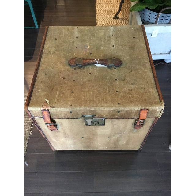 This vintage English trunk has so many wonderful details. Made of leather, canvas, wood and metal, beautiful accents...