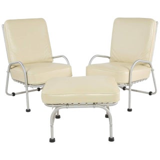 1920s Vintage Warren McArthur Lounge Chairs and Ottoman- 3 Pieces For Sale