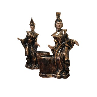 Gilner Asian Antique Black and Gold Figurine Planters - a Pair For Sale