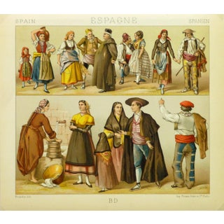 Antique Fashion Print Spanish Dress, 1885 For Sale