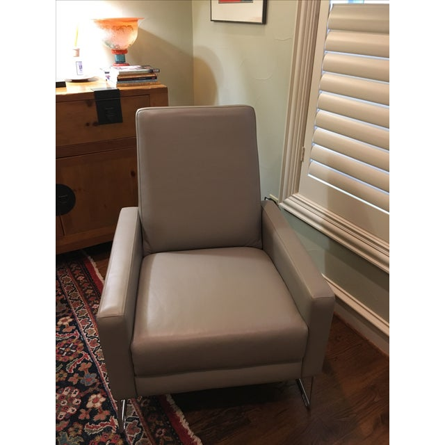 DWR Gray Leather Flight Recliner - Image 2 of 6