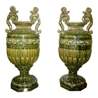 Pair of Impressive 19th C. French Majolica Urns by Jerome Massier Fils, Vallauris, France