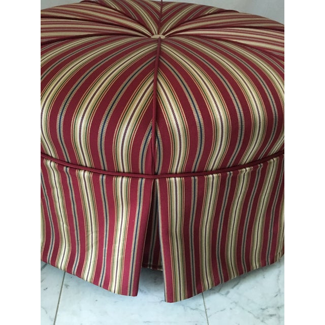 Traditional Round Stripe Upholstered Pleated Skirt Ottoman For Sale - Image 4 of 7