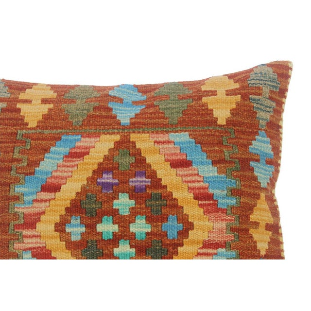 "Clementi Rust/Lt. Blue Hand-Woven Kilim Throw Pillow(18""x18"") For Sale - Image 4 of 6"