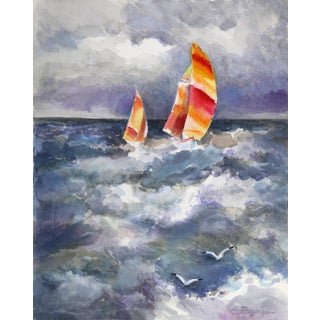 Erik Freyman, Sailboat in Storm, Watercolor With Pastels For Sale