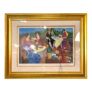 Gilt Framed Contemporary Art Work Signed Tarkey For Sale