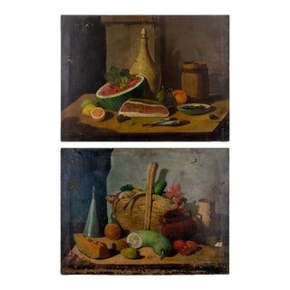 19th Century Spanish School Still Life Paintings - a Pair For Sale
