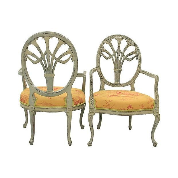 Antique Yellow Fauteuil Chairs - A Pair - Image 3 of 7