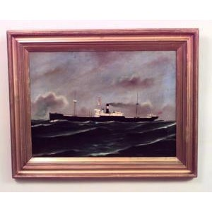 American 20th Century American Gilt Framed Oil Seascape Painting of Black Steam Freighter For Sale - Image 3 of 3