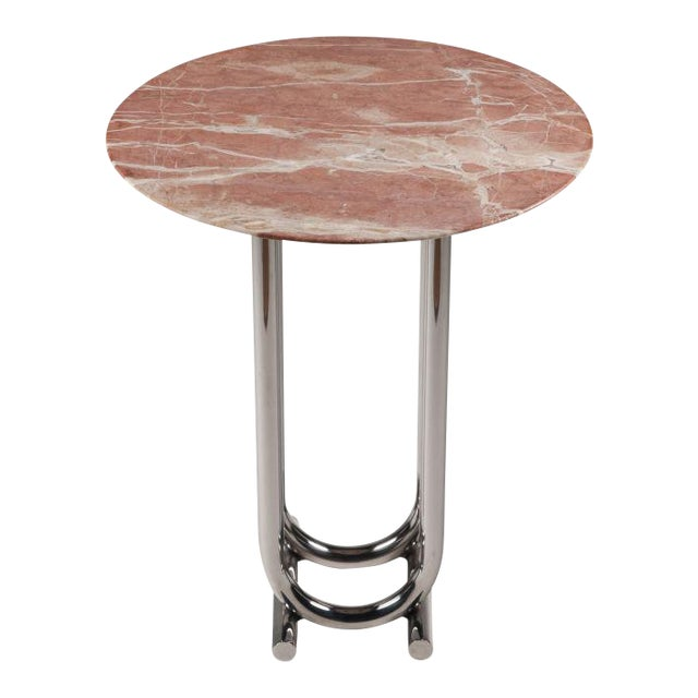 Rose Marble and Chrome Side Table by Jay Spectre For Sale