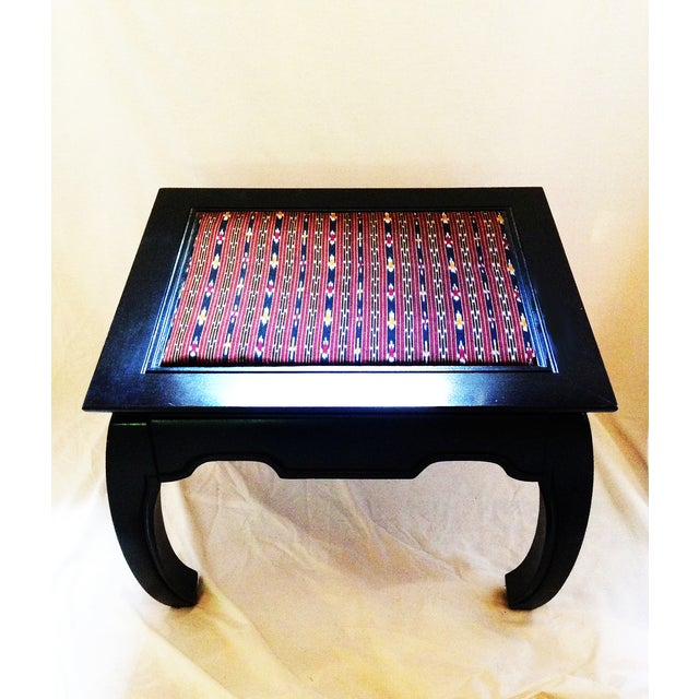 Ming-Style Side Table With Upholstered Top - Image 2 of 5