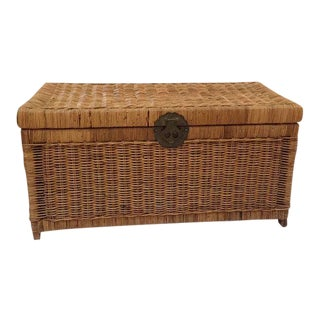 1970s Boho Chic Rattan Trunk Woven Storage Blanket Chest For Sale