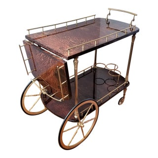 Drop Leaf Aldo Tura Goatskin & Brass Bar Cart For Sale