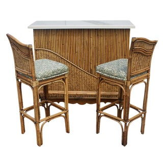 Vintage Rattan Granite Cocktail Bar Set For Sale