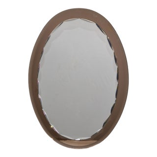 Veca Mid-Century Modern Faceted Wall Mirror & Beveled Smoked Glass 1970s Italy For Sale