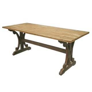 French Dining Table with Pine Top and Trestle Base