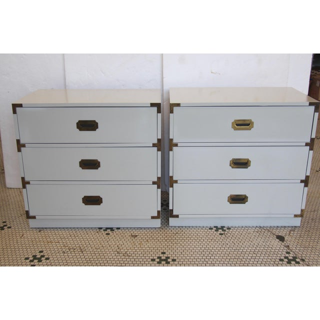 Pair of 1970s Bernhardt campaign-style three-drawer chests. Freshly lacquered in Benjamin Moore's Revere Pewter. Original...