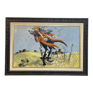 Vintage Colorful Clown Scarecrow Painting For Sale