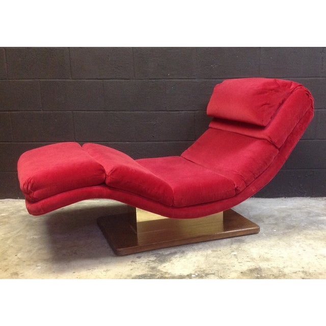 1980's Red Velvet Wave Chaise - Image 2 of 8