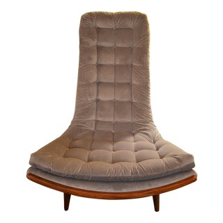 Vintage Mid Century Modern Adrian Pearsall Sculptural High Back Scoop Chair Newly Upholstered Lavender Velvet For Sale