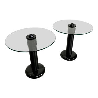 Postmodern Kaiser-Newman Aluminum, Glass and Porcelain Drinks Tables - a Pair For Sale