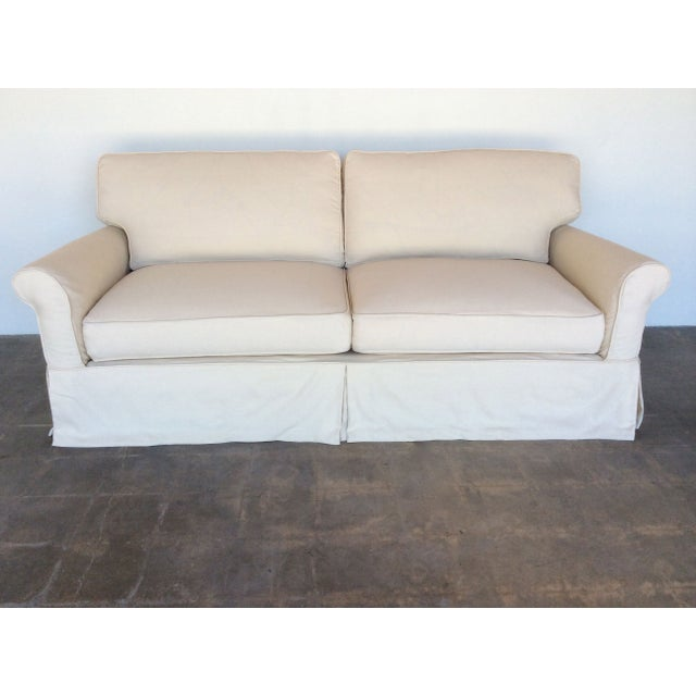 Slipcovered Roll Arm Sofa in Belgian Linen - Image 2 of 8