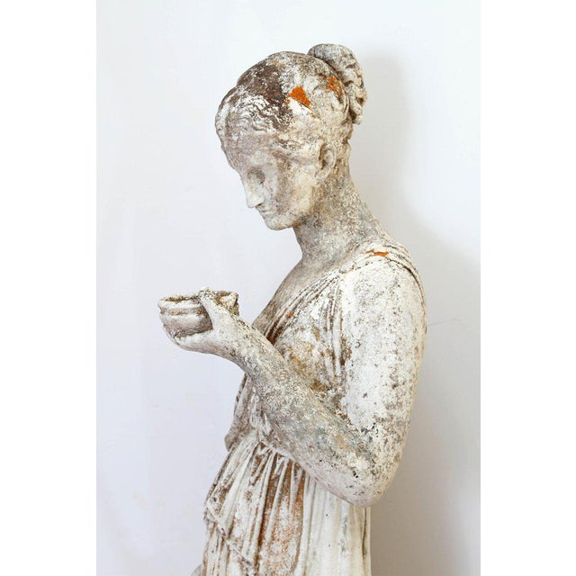 Stone 19th Century French Hand Carved Stone Female Statue For Sale - Image 7 of 13