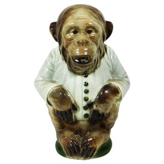 1900s Majolica Keller and Guerin Saint Clement Monkey Pitcher For Sale