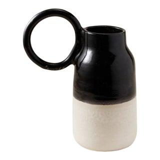 Contemporary Handmade Ceramic Olivia Round Handle Pitcher - Noir/Blanc For Sale
