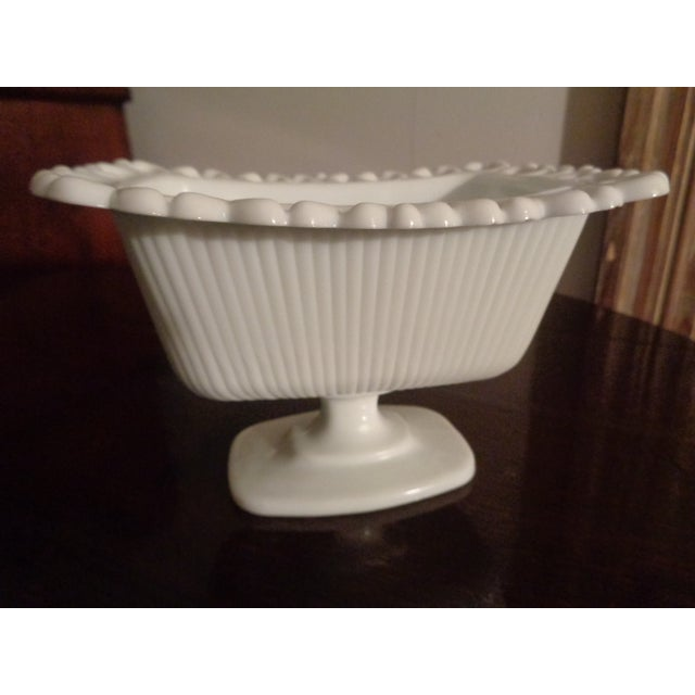Here is a cute soap dish made of white milk glass. Made in the 1960s in the style of Mid-Century Modern. The lace adds a...