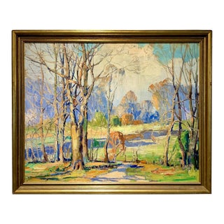 Mid 20th Century Camillo Adriani Original Oil on Canvas Fall Landscape Painting - the Doe For Sale