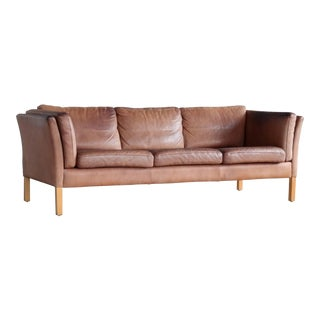Danish Patinated Light Cognac Buffalo Leather Sofa by Stouby For Sale