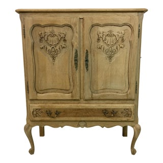 Antique Carved French Bleached Cabinet