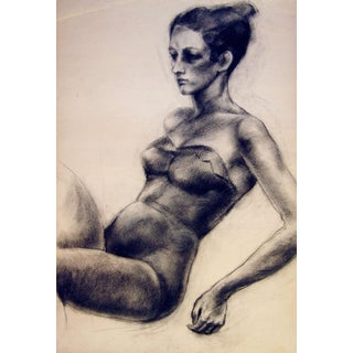 1950s Charcoal Figure Study III For Sale