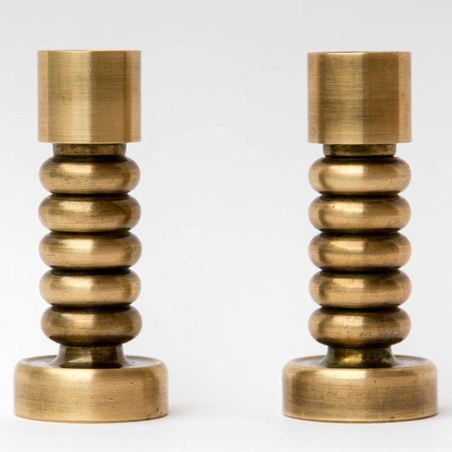 Brass Brass Danish Modern Candlesticks, a Pair For Sale - Image 7 of 7