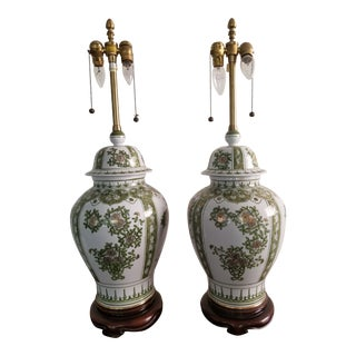20th Century Vintage Marbro Green Floral Urn Lamps - a Pair For Sale