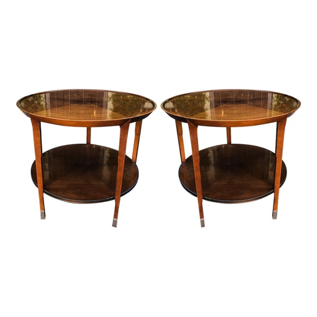 Pair of Bill Sofield for Baker Round Mahogany Designer Side Tables For Sale