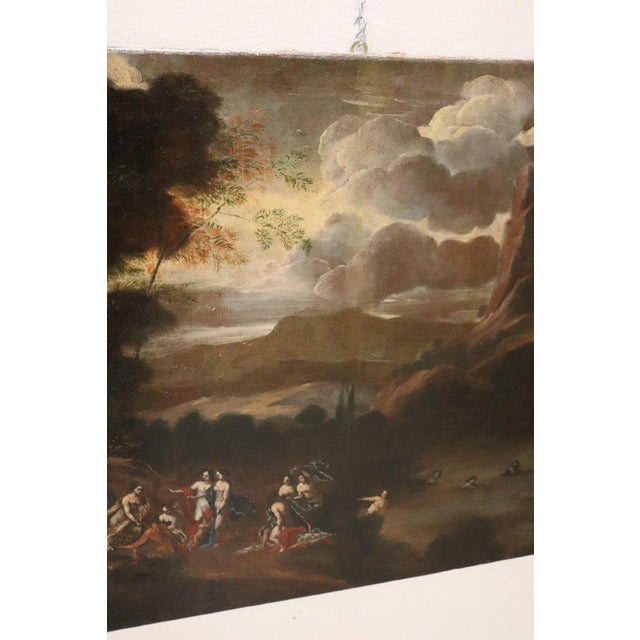 17th Century Italian Oil Painting on Canvas, Landscape With Figures For Sale - Image 9 of 13