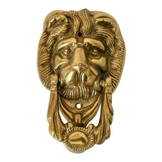 1950s English Traditional Brass Lion Door Knocker