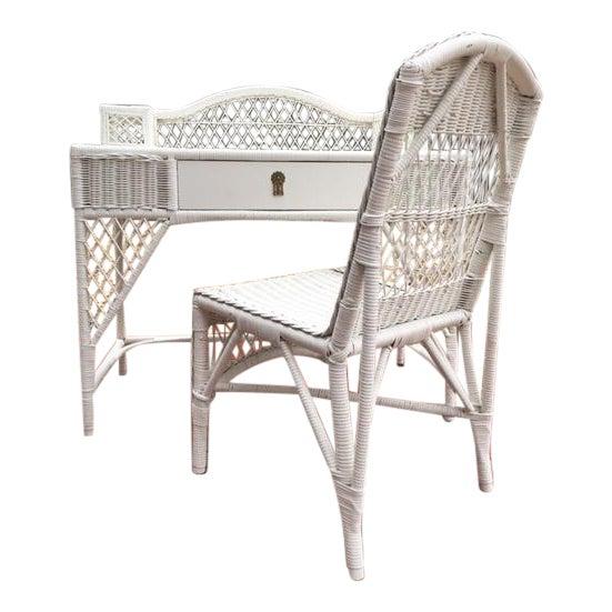 Vintage White Wicker Desk Chair
