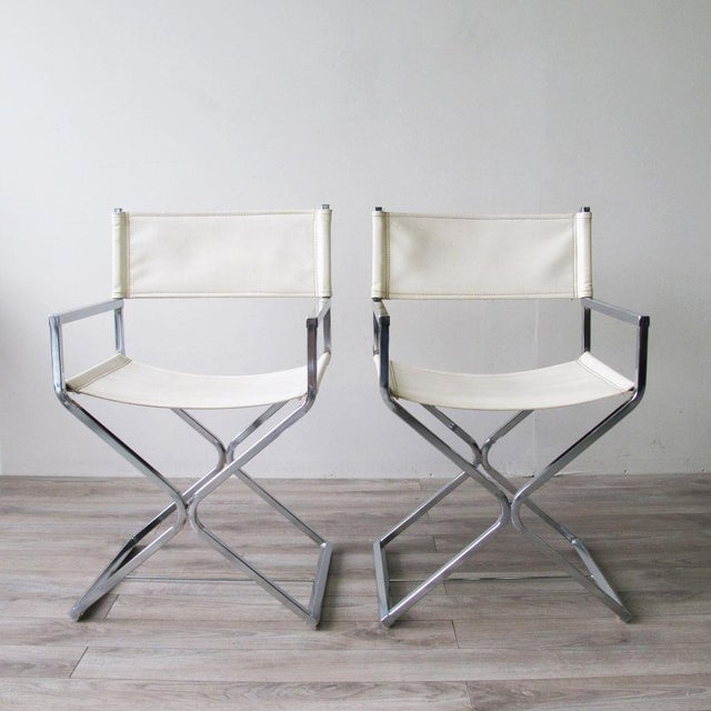 Chrome Director's Chairs - A Pair - Image 2 of 7