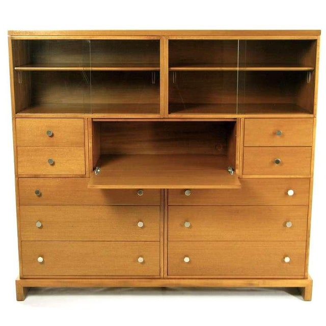 Mid-Century Modern 1940s C.G. Kimerly For Widdicomb Mahogany Bookcase Secretary For Sale - Image 3 of 7