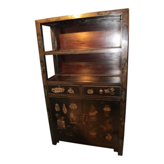 Chinese Antique Black Decorated Bookcase For Sale