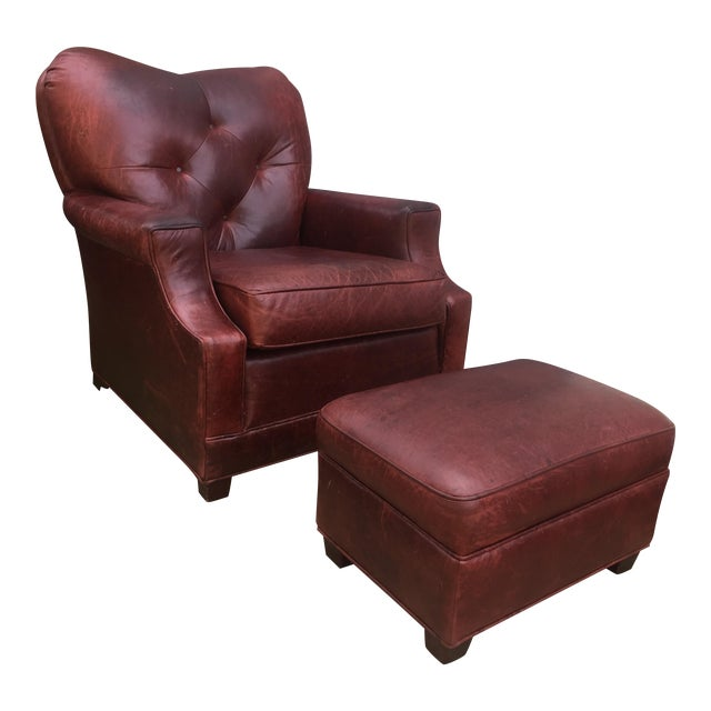 Art Deco Style Vintage Leather Chair & Ottoman - Image 1 of 9