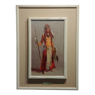 Harvey William Johnson -Portrait of an Indian W/The Eagle Head Headdress-Oil Painting For Sale